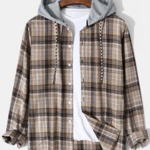 Mens Preppy Plaid Long Sleeve Contrast Drawstring Hooded Shirts discountshub