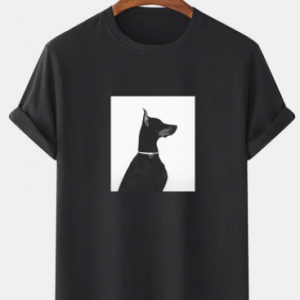 Mens Puppy Graphic Print 100% Cotton Crew Neck Short Sleeve T-Shirts discountshub