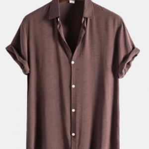 Mens Pure Color Lapel Button Up Cotton Basics Short Sleeve Shirts discountshub