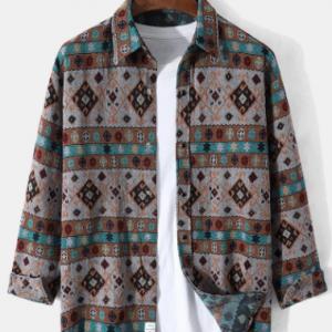 Mens Retro Tribal Pattern Ethnic Style Cotton Casual Long Sleeve Shirts discountshub