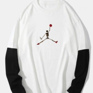 Mens Skeleton Print 100% Cotton Preppy 2 In 1 Long Sleeve T-Shirts discountshub