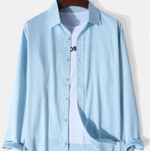 Mens Solid Lapel Button Up Cotton Basics Long Sleeve Shirts discountshub