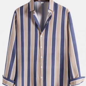 Mens Vertical Stripe Button Up Casual Long Sleeve Shirts discountshub