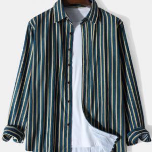 Mens Vertical Stripe Button Up Corduroy Casual Long Sleeve Shirts discountshub