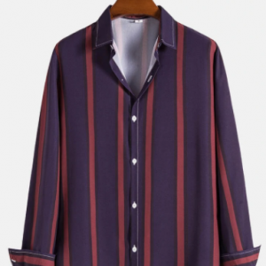 Mens Vertical Striped Button Up Casual Long Sleeve Shirts discountshub