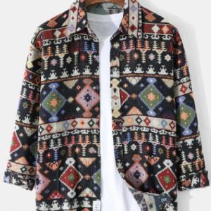 Mens Vintage Ethnic Tribal Pattern Button Cotton Casual Long Sleeve Shirts discountshub