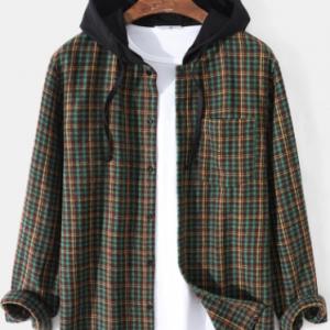 Mens Vintage Plaid Button Up Long Sleeve Contrast Drawstring Hooded Shirts discountshub