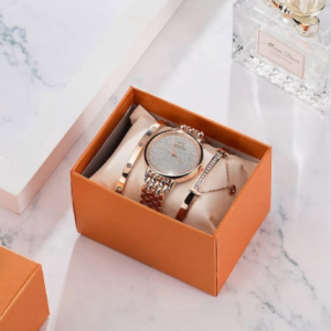 Montre Femme Watch Women Luxury Lady Temperament Watches Bracelet 3 Pcs Set Chain Wristwatch Birthday Clock Relogio Feminino discountshub