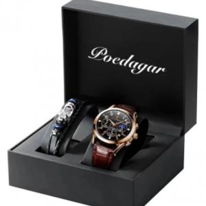 POEDAGAR 2021 Fashion New Mens Watches Sports Leather Watch Waterproof Luminous Top Brand Luxury Quartz Wristwatch with Date discountshub