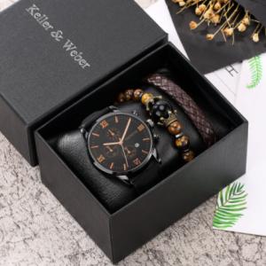 Personality Men Watch Bracelet Set Black Quartz Watches Leather Strap Pin Buckle 2 Pieces Brown Weave Bracelet Best Gift for Men discountshub