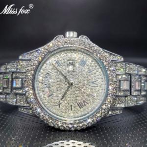 Relogio Masculino Luxury MISSFOX Ice Out Diamond Watch Multifunction Day Date Adjust Calendar Quartz Watches For Men Droshipping discountshub