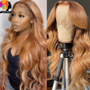 Remyblue Ginger Blonde Transparent Lace Front Human Hair Wigs Pre Plucked Highlight Brown Body Wave Human Hair Wigs Indian Remy discountshub