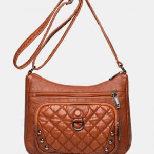 Retro Faux Leather Argyle Pattern Crossbody Bag Large Capacity Shoulder Bag discountshub