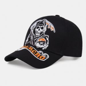 Unisex Cotton Skull Letter Pattern Embroidery Fashion Sunshade Baseball Cap discountshub
