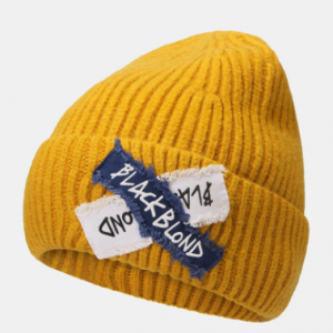 Unisex Knitted Solid Color Letter Raw Edge Patch Flanging All-match Warmth Beanie Hat discountshub