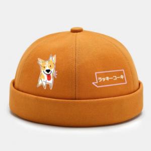 Unisex Polyester Cotton Cartoon Corgi Dog Japanese Print Fashion Brimless Beanie Landlord Cap Skull Cap discountshub