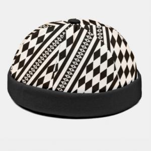 Unisex Polyester Cotton Overlay Argyle Striped Print Fashion Brimless Beanie Landlord Cap Skull Cap discountshub