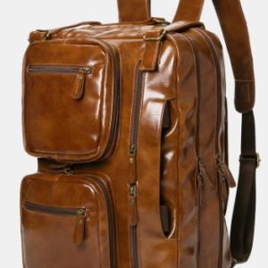 Vintage Business Multi-Pockets Multifunction Waterproof Wearable Multi-Carry Backpack Briefcase discountshub