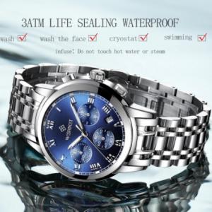 WISHDOIT 2021 New Fashion Men's Watch Stainless Steel Top Brand Luxury Sports Chronograph Quartz Watch Men Relogio Masculino discountshub