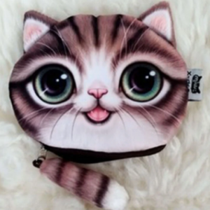 Women Cute Small Tail Cat Printing Coin Purse Wallet discountshub