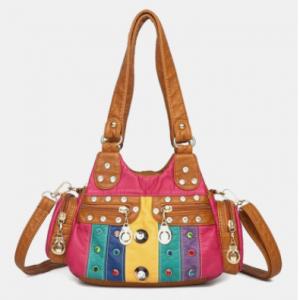 Women Vintage Rivet Waterproof Patchwork PU Leather Shoulder Bag Handbag Tote discountshub