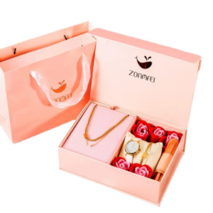 Women Watch Jewelry Luxury Gift Box Set Fashion Simple Quartz Wirst watch Titanium Steel Bracelet Necklace Makeup Brush 4Pcs discountshub