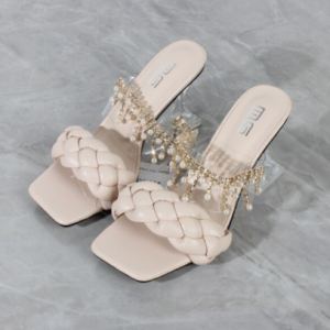Women's Sandals Summer New Products Fashion Chain Pearl PU Handwoven High Heel Women Sandals Party Wedding Shoes 7.5CM discountshub